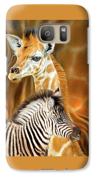 Galaxy Case featuring the mixed media Spots And Stripes - Giraffe And Zebra by Carol Cavalaris