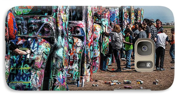 Galaxy Case featuring the photograph Spray Paint Fun At Cadillac Ranch by Randall Nyhof