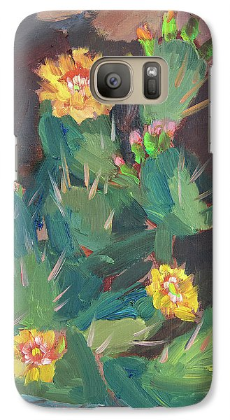 Galaxy Case featuring the painting Spring And Prickly Burst Cactus by Diane McClary