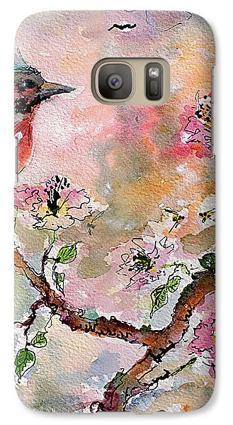 Galaxy Case featuring the painting Spring Bird Fantasy Watercolor  by Ginette Callaway