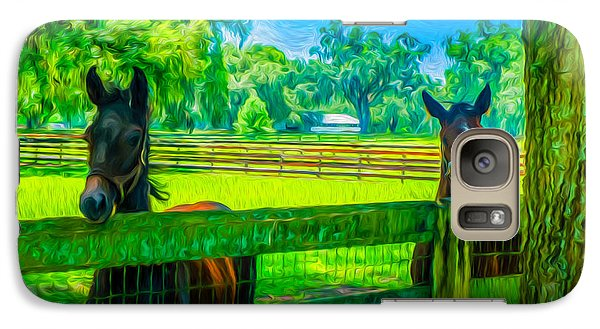 Galaxy Case featuring the painting Spring Colts by Louis Ferreira