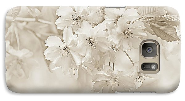Galaxy Case featuring the photograph Spring Flower Blossoms Soft Brown by Jennie Marie Schell