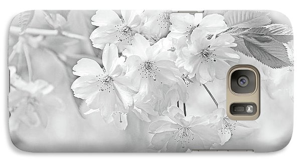 Galaxy Case featuring the photograph Spring Flower Blossoms Soft Gray by Jennie Marie Schell
