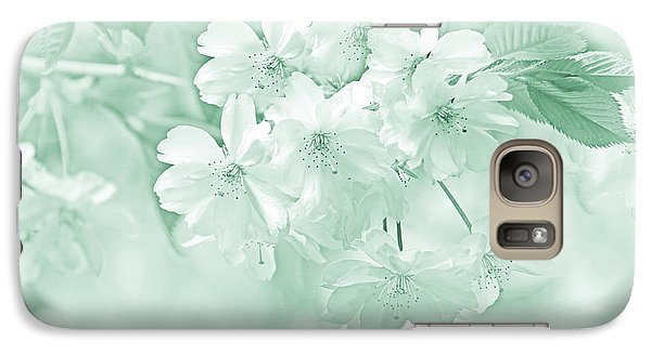 Galaxy Case featuring the photograph Spring Flower Blossoms Teal by Jennie Marie Schell