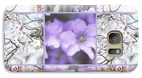 Galaxy Case featuring the photograph Spring Flower Collage. Shabby Chic Collection  by Jenny Rainbow