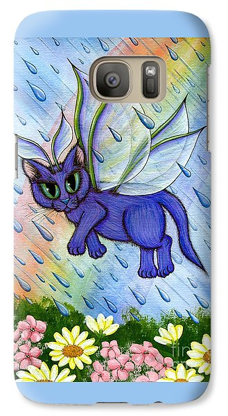 Galaxy Case featuring the painting Spring Showers Fairy Cat by Carrie Hawks