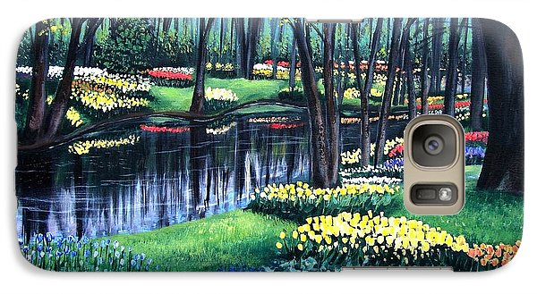 Galaxy Case featuring the painting Spring Splendor Tulip Garden by Patricia L Davidson