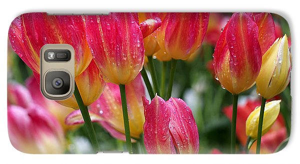 Spring Tulips In The Rain Galaxy Case by Rona Black