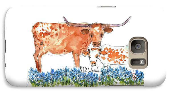 Cow Galaxy S7 Case - Springs Surprise Watercolor Painting By Kmcelwaine by Kathleen McElwaine