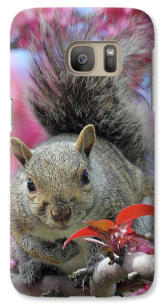 Galaxy Case featuring the photograph Squirrel In Apple Blossoms by Doris Potter