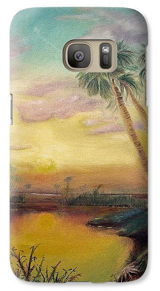 Galaxy Case featuring the painting St. Johns Sunset by Dawn Harrell