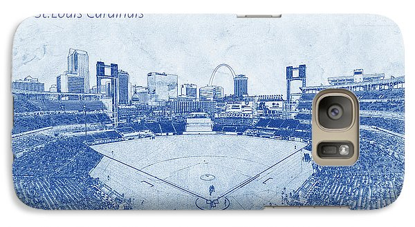 Galaxy Case featuring the photograph St. Louis Cardinals Busch Stadium Blueprint Words by David Haskett