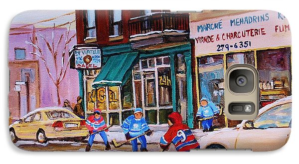 Galaxy Case featuring the painting St. Viateur Bagel With Boys Playing Hockey by Carole Spandau