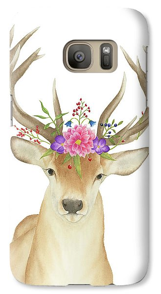 Galaxy Case featuring the painting Stag Watercolor  by Taylan Apukovska
