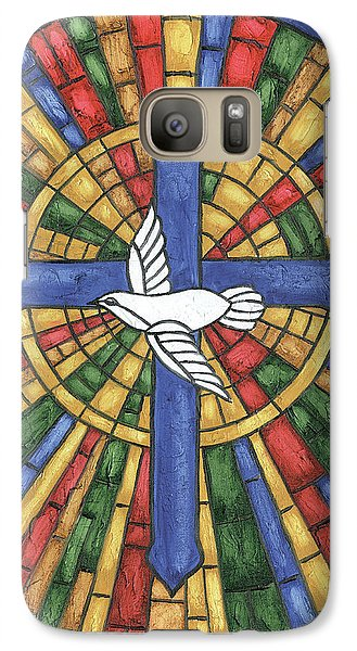 Stained Glass Cross Galaxy Case by Debbie DeWitt
