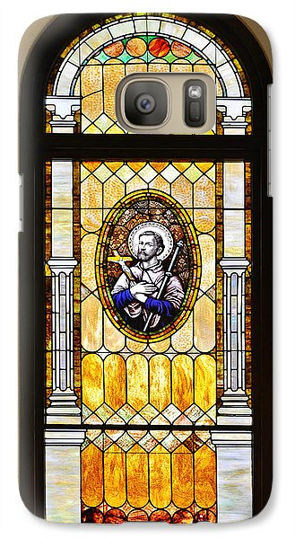 Galaxy Case featuring the photograph Stained Glass Window Father Antonio Ubach by Christine Till