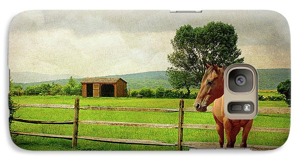 Galaxy Case featuring the photograph Stallion At Fence by Diana Angstadt
