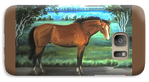 Galaxy Case featuring the painting Stallion Portrait by Dawn Senior-Trask