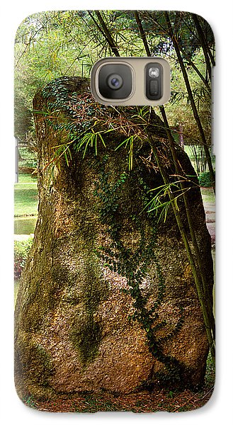Galaxy Case featuring the photograph Standing Stone With Fern And Bamboo 19a by Gerry Gantt