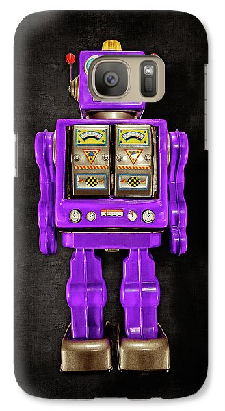 Galaxy Case featuring the photograph Star Strider Robot Purple On Black by YoPedro