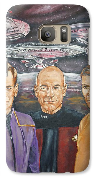 Galaxy Case featuring the painting Star Trek Tribute Enterprise Captains by Bryan Bustard