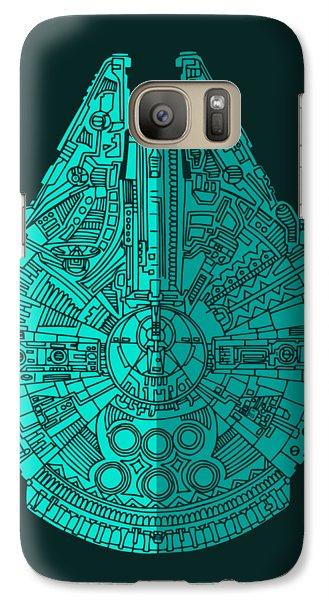 Star Wars Art - Millennium Falcon - Blue 02 Galaxy S7 Case