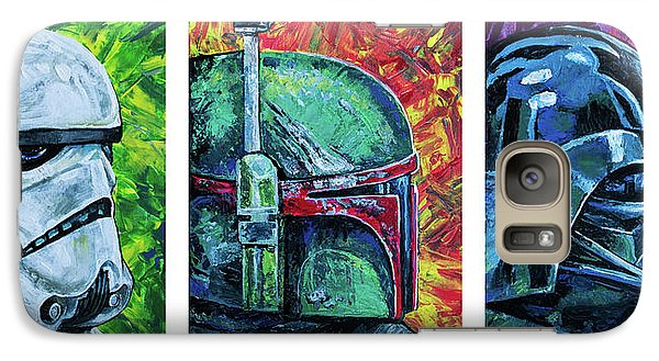 Galaxy Case featuring the painting Star Wars Helmet Series - Triptych by Aaron Spong