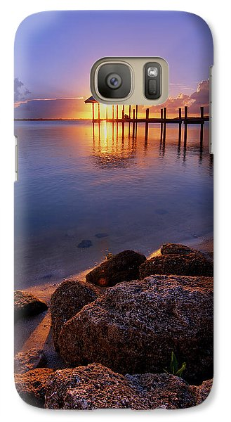 Galaxy Case featuring the photograph Starburst Sunset Over House Of Refuge Pier In Hutchinson Island At Jensen Beach, Fla by Justin Kelefas