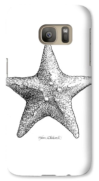 Galaxy Case featuring the drawing Starfish Drawing Black And White Sea Star by Karen Whitworth