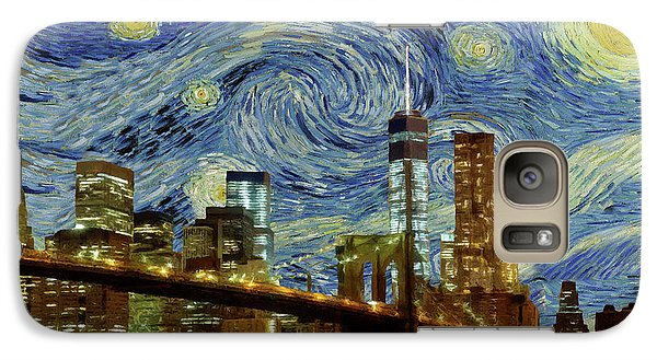 Galaxy Case featuring the painting Starry Night Brooklyn Bridge by Movie Poster Prints