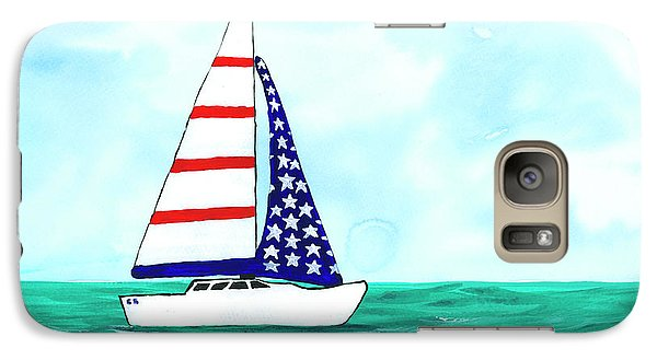 Galaxy Case featuring the painting Stars And Strips Sailboat by Darice Machel McGuire