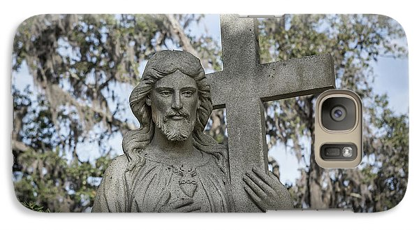 Galaxy Case featuring the photograph Statue Of Jesus And Cross by Kim Hojnacki