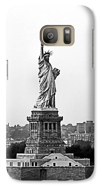 Galaxy Case featuring the photograph Statue Of Liberty Black And White by Kristin Elmquist