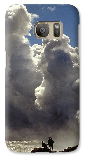Galaxy Case featuring the photograph Steam From Hot Lava by Carl Purcell