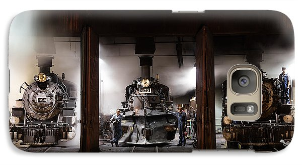 Galaxy Case featuring the photograph Steam Locomotives In The Train Yard Of The Durango And Silverton Narrow Gauge Railroad In Durango by Carol M Highsmith