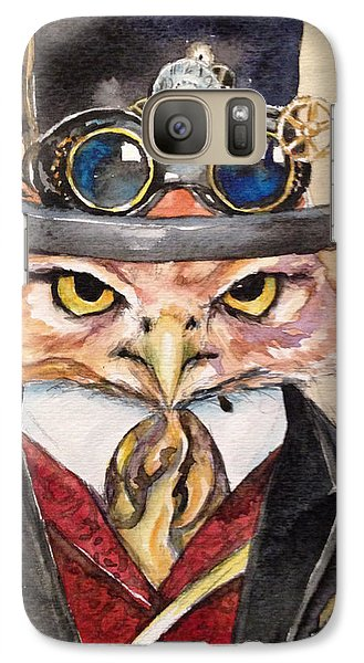Galaxy Case featuring the painting Steampunk Owl Mayor by Christy  Freeman