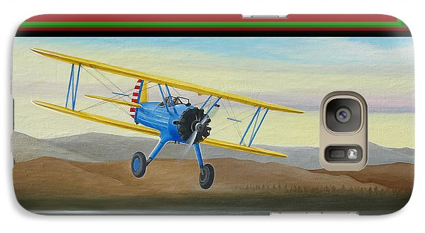 Galaxy Case featuring the painting Stearman Morning Flight Christmas Card by Stuart Swartz