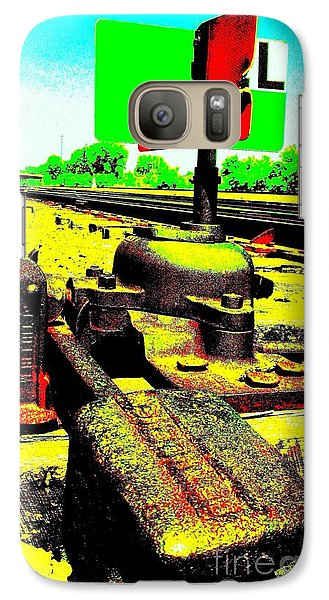 Galaxy Case featuring the photograph Steel Diesel Track Signal by Peter Gumaer Ogden
