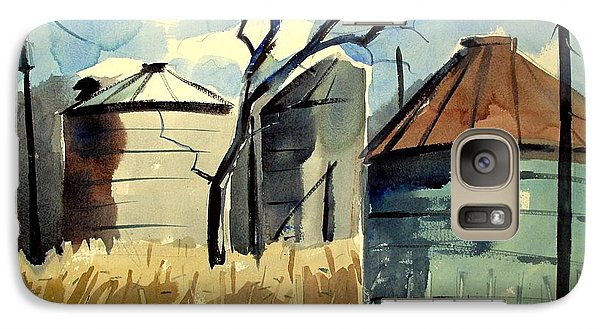 Galaxy Case featuring the painting Steel Silos In A Field Matted Glassed Framed by Charlie Spear