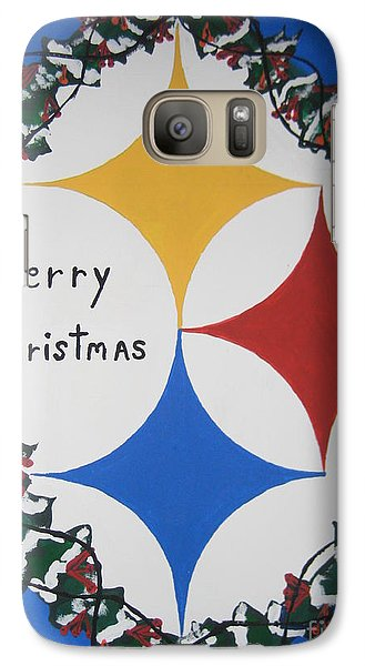 Galaxy Case featuring the painting Steelers Christmas Card by Jeffrey Koss