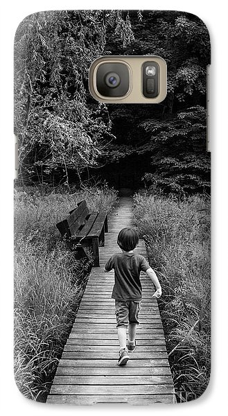 Galaxy Case featuring the photograph Stepping Into Adventure - D009927-bw by Daniel Dempster