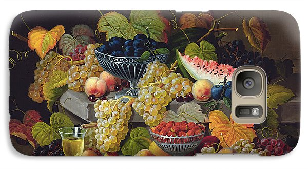 Still Life Of Melon Plums Grapes Cherries Strawberries On Stone Ledge Galaxy S7 Case by Severin Roesen