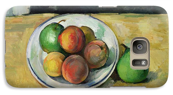 Orange Galaxy S7 Case - Still Life With A Peach And Two Green Pears by Paul Cezanne