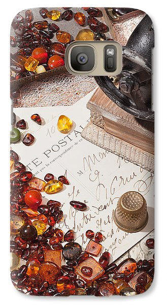 Galaxy Case featuring the photograph Still-life With Amber And Sewing Machines. by Andrey  Godyaykin