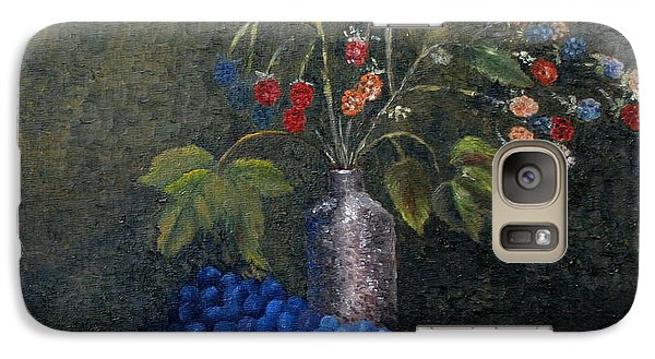 Galaxy Case featuring the painting Still Life With Blue Fruit by Karin Eisermann
