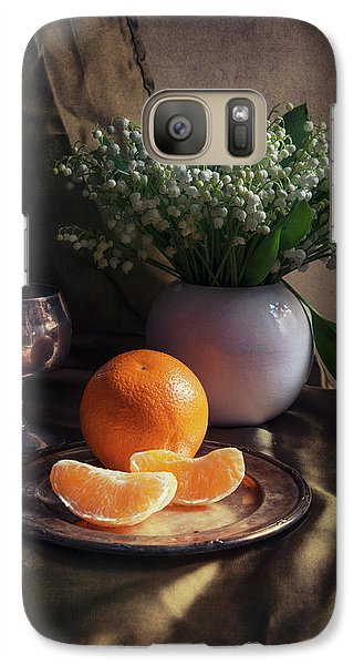 Galaxy Case featuring the photograph Still Life With Fresh Flowers And Tangerines by Jaroslaw Blaminsky