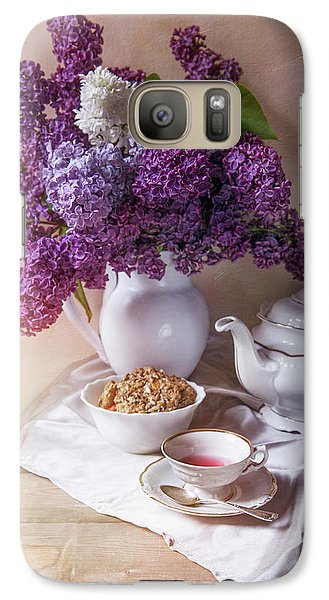 Galaxy Case featuring the photograph Still Life With Fresh Lilac And China Pots by Jaroslaw Blaminsky