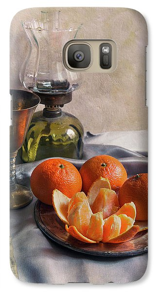 Galaxy Case featuring the photograph Still Life With Fresh Tangerines And Oil Lamp by Jaroslaw Blaminsky