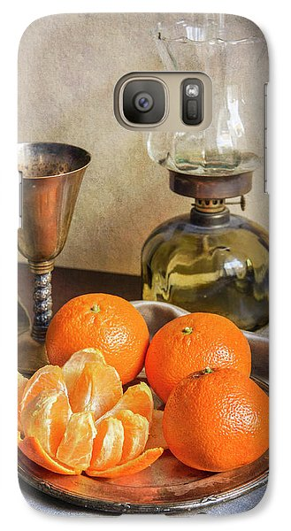 Galaxy Case featuring the photograph Still Life With Oil Lamp And Fresh Tangerines by Jaroslaw Blaminsky