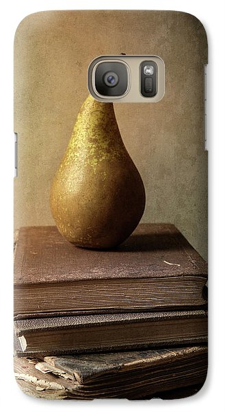 Galaxy Case featuring the photograph Still Life With Old Books And Fresh Pear by Jaroslaw Blaminsky